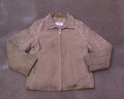 ESPRIT bézs velúr bőr dzseki L-es