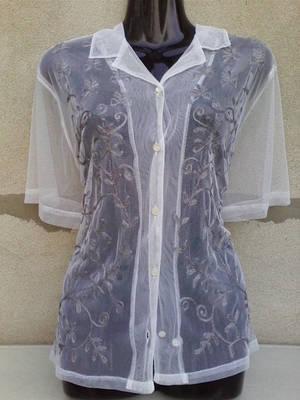 H&M Fehér hímzett tüll blúz XL-es