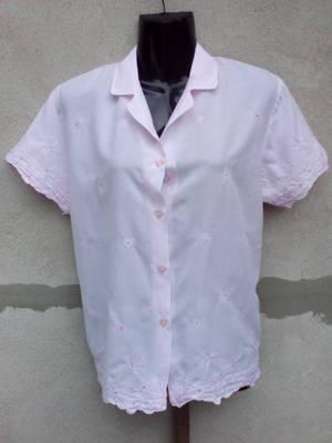 *M&S Rózsaszín hímzett rövid ujjú blúz 40/UK14-es